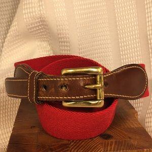 Dooney & Bourke leather/wool surcingle/solid brass